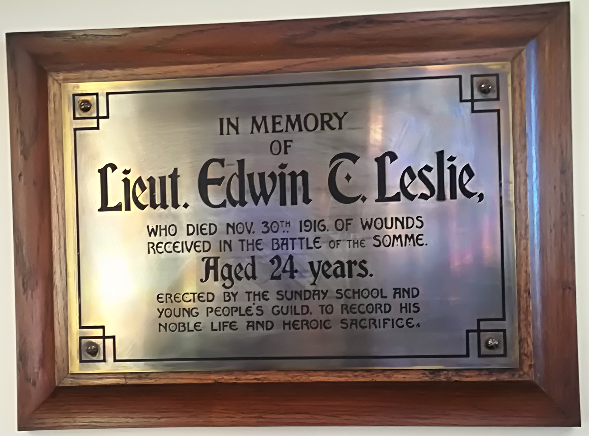Memorial– Memorial in Knox Presbyterian Church, Georgetown.
