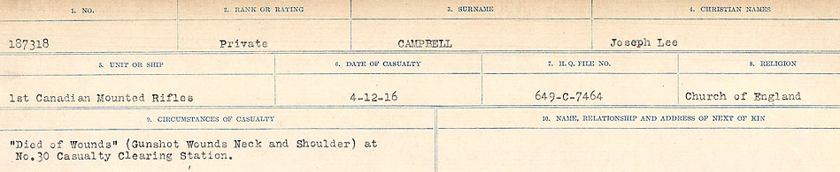Circumstances of Death Registers– Source: Library and Archives Canada.  CIRCUMSTANCES OF DEATH REGISTERS, FIRST WORLD WAR Surnames:  Cabana to Campling. Microform Sequence 17; Volume Number 31829_B016726. Reference RG150, 1992-93/314, 161.  Page 837 of 1024
