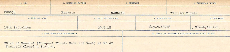 Circumstances of Death Registers– Source: Library and Archives Canada.  CIRCUMSTANCES OF DEATH REGISTERS, FIRST WORLD WAR Surnames:  Canavan to Caswell. Microform Sequence 18; Volume Number 31829_B016727. Reference RG150, 1992-93/314, 162.  Page 251 of 1004.