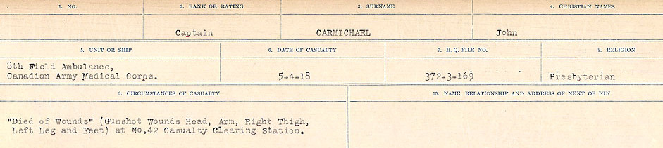 Circumstances of Death Registers– Source: Library and Archives Canada.  CIRCUMSTANCES OF DEATH REGISTERS, FIRST WORLD WAR Surnames:  Canavan to Caswell. Microform Sequence 18; Volume Number 31829_B016727. Reference RG150, 1992-93/314, 162.  Page 323 of 1004.