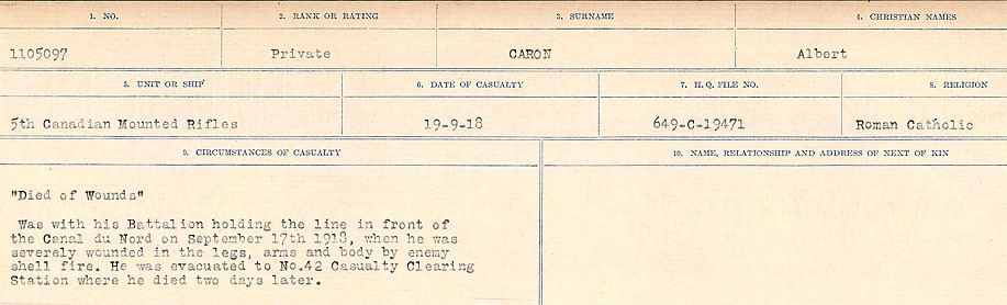 Circumstances of Death Registers– Source: Library and Archives Canada.  CIRCUMSTANCES OF DEATH REGISTERS, FIRST WORLD WAR Surnames:  Canavan to Caswell. Microform Sequence 18; Volume Number 31829_B016727. Reference RG150, 1992-93/314, 162.  Page 365 of 1004.