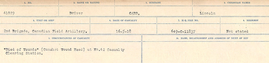 Circumstances of Death Registers– Source: Library and Archives Canada.  CIRCUMSTANCES OF DEATH REGISTERS, FIRST WORLD WAR Surnames:  Canavan to Caswell. Microform Sequence 18; Volume Number 31829_B016727. Reference RG150, 1992-93/314, 162.  Page 441 of 1004.