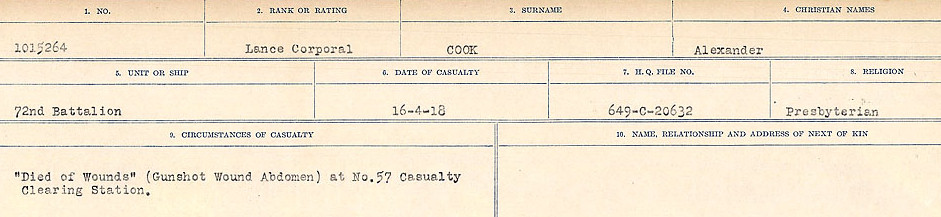 Circumstances of Death– Source: Library and Archives Canada.  CIRCUMSTANCES OF DEATH REGISTERS, FIRST WORLD WAR Surnames:  CONNON TO CORBETT.  Microform Sequence 22; Volume Number 31829_B016731. Reference RG150, 1992-93/314, 166.  Page 167 of 818