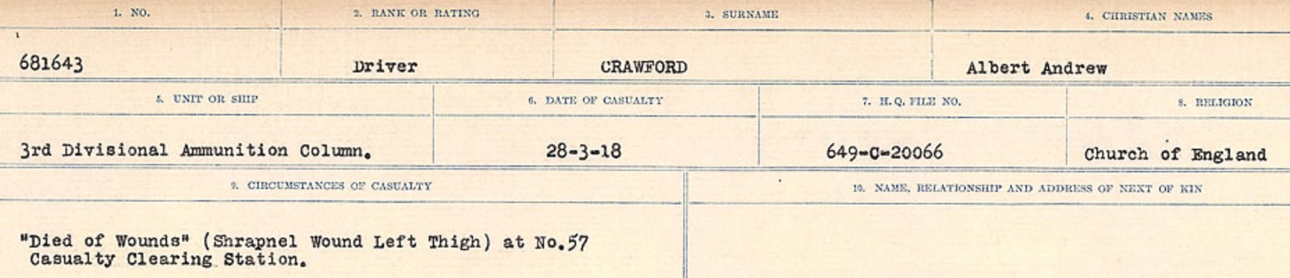 Circumstances of death registers– Source: Library and Archives Canada. CIRCUMSTANCES OF DEATH REGISTERS, FIRST WORLD WAR Surnames: CRABB TO CROSSLAND Microform Sequence 24; Volume Number 31829_B016733. Reference RG150, 1992-93/314, 168. Page 299 of 788.