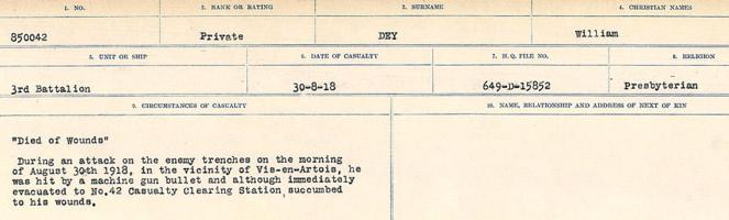 Circumstances of death registers– Source: Library and Archives Canada. CIRCUMSTANCES OF DEATH REGISTERS, FIRST WORLD WAR. Surnames: Deuel to Domoney. Microform Sequence 28; Volume Number 31829_B016737. Reference RG150, 1992-93/314, 172. Page 195 of 1084.