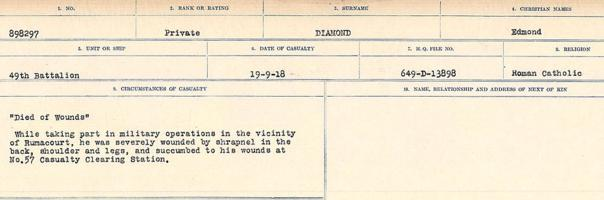 Circumstances of death registers– Source: Library and Archives Canada. CIRCUMSTANCES OF DEATH REGISTERS, FIRST WORLD WAR. Surnames: Deuel to Domoney. Microform Sequence 28; Volume Number 31829_B016737. Reference RG150, 1992-93/314, 172. Page 209 of 1084.