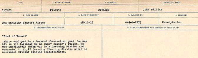 Circumstances of death registers– Source: Library and Archives Canada. CIRCUMSTANCES OF DEATH REGISTERS, FIRST WORLD WAR. Surnames: Deuel to Domoney. Microform Sequence 28; Volume Number 31829_B016737. Reference RG150, 1992-93/314, 172. Page 275 of 1084.