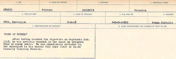 Circumstances of death registers– Source: Library and Archives Canada. CIRCUMSTANCES OF DEATH REGISTERS, FIRST WORLD WAR. Surnames: Don to Drzewiecki. Microform Sequence 29; Volume Number 31829_B016738. Reference RG150, 1992-93/314, 173. Page 367 of 1076.