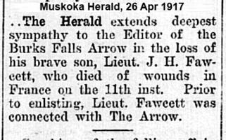 Newspaper clipping– Muskoka Herald 26-Apr-1916