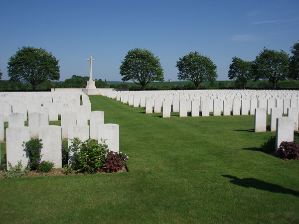 Aulnoy Communal Cemetery Extension– Final place of Fred George in France. Photo taken on visit to the cemetery in May 2012 by family members.