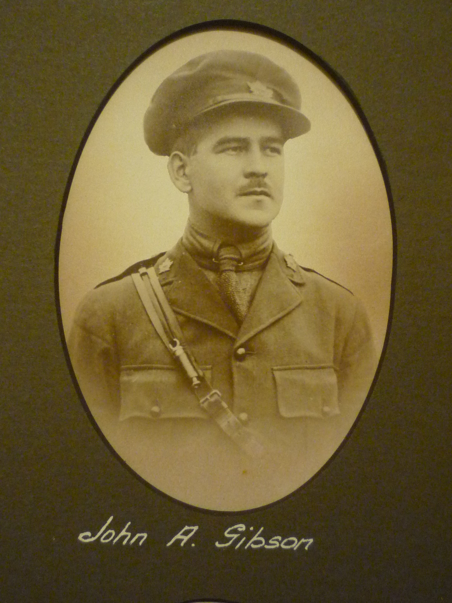 Photo of JOHN ALEXANDER GIBSON– This image comes from a large framed tribute in St. John's Presbyterian Church, Broadview Avenue, Toronto. Ontario Canada.  He and thirty-two other men are remembered here for their service in WWI.