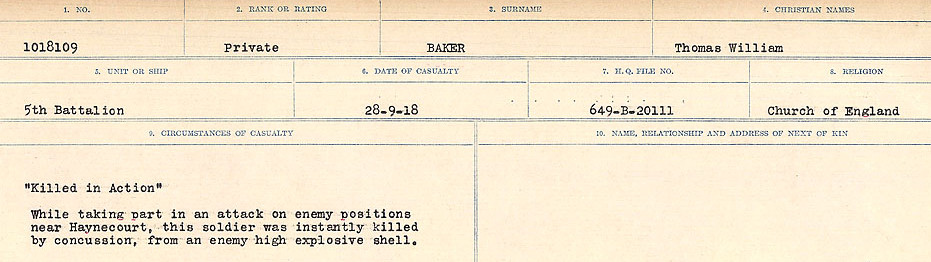Circumstances of Death Registers– Source: Library and Archives Canada.  CIRCUMSANCES OF DEATH REGISTERS, FIRST WORLD WAR Surnames:  Babb to Barjarow. Microform Sequence 5; Volume Number 31829_B016715. Reference RG150, 1992-93/314, 149.  Page 537 of 1072.