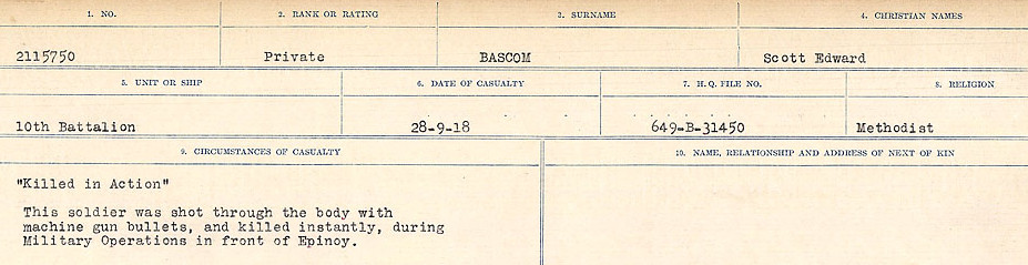 Circumstances of Death– Source: Library and Archives Canada.  CIRCUMSTANCES OF DEATH REGISTERS, FIRST WORLD WAR Surnames:  Bark to Bazinet. Mircoform Sequence 6; Volume Number 31829_B016716. Reference RG150, 1992-93/314, 150.  Page 691 of 1058.