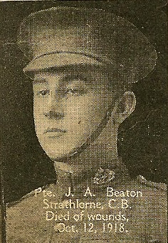 Photo of John Beaton– From the book, Catholics of the Diocese of Antigonish, Nova Scotia and the Great War 1914- 1919.  Submitted for the project, Operation: PIcture Me