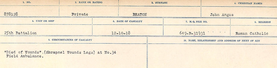 Circumstances of Death Registers– Source: Library and Archives Canada.  CIRCUMSTANCES OF DEATH REGISTERS FIRST WORLD WAR Surnames:  Bea to Belisle. Mircoform Sequence 7; Volume Number 31829_B016717. Reference RG150, 1992-93/314, 151.  Page 179 of 724.