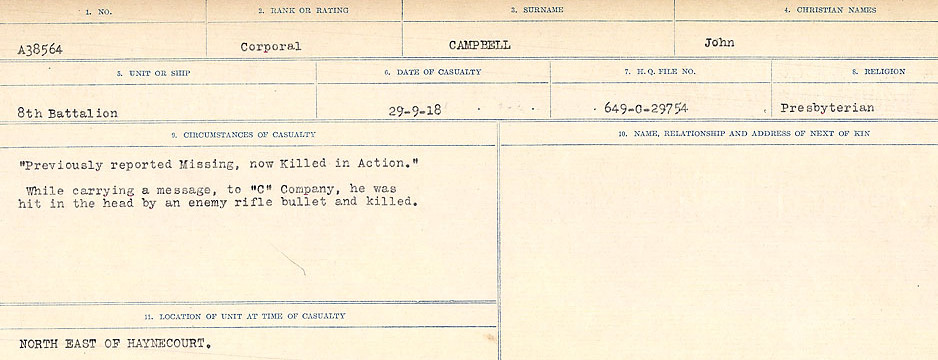 Circumstances of Death Registers– Source: Library and Archives Canada.  CIRCUMSTANCES OF DEATH REGISTERS, FIRST WORLD WAR Surnames:  Cabana to Campling. Microform Sequence 17; Volume Number 31829_B016726. Reference RG150, 1992-93/314, 161.  Page 793 of 1024