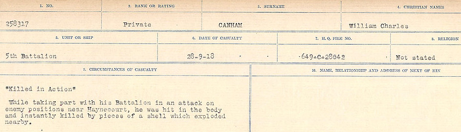 Circumstances of Death Registers– Source: Library and Archives Canada.  CIRCUMSTANCES OF DEATH REGISTERS, FIRST WORLD WAR Surnames:  Canavan to Caswell. Microform Sequence 18; Volume Number 31829_B016727. Reference RG150, 1992-93/314, 162.  Page 21 of 1004.