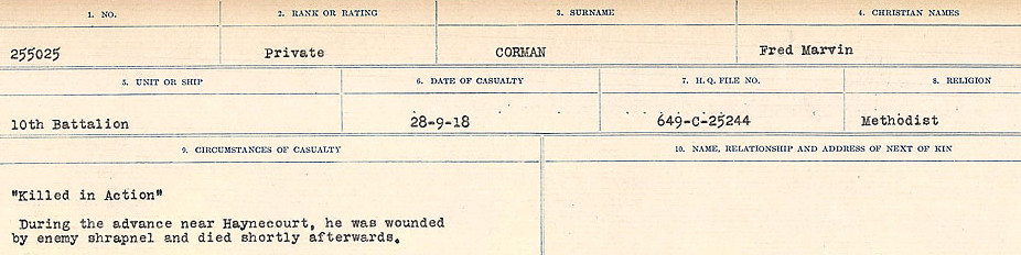 Circumstances of Death Registers– Source: Library and Archives Canada.  CIRCUMSTANCES OF DEATH REGISTERS, FIRST WORLD WAR Surnames:  CORBI TO COZNI.  Microform Sequence 23; Volume Number 31829_B016732. Reference RG150, 1992-93/314, 167.  Page 107 of 900.
