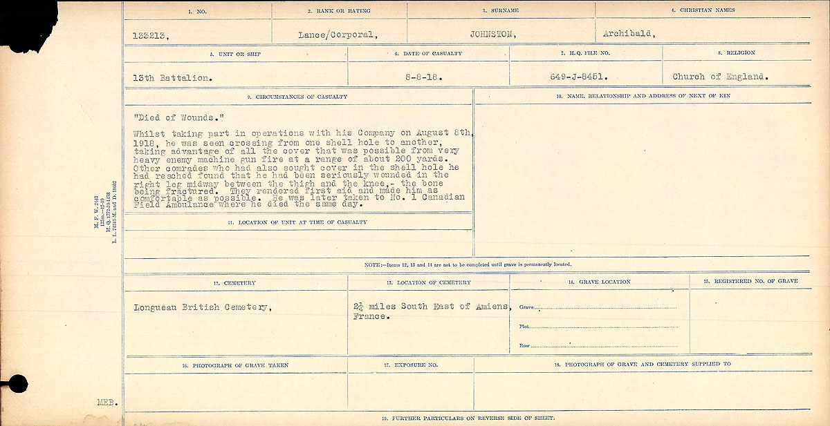 "Circumstances of Death Registers– ""Died of Wounds"" Whilst taking part in operations with his Company on August 8th, 1918, he was seen crossing from one shell hole to the other, taking advantage of all the cover that was possible from very heavy machine gun fire at a range of about 200 years. Other comrades who had also sought cover in the shell hole he had reached found that he had been seriously wounded in the right leg midway between the thigh and the knee, - the bone being fractured. They rendered first aid and made him as comfortable as possible. he was later take to No. 1 Canadian Field Ambulance where he died the same day."