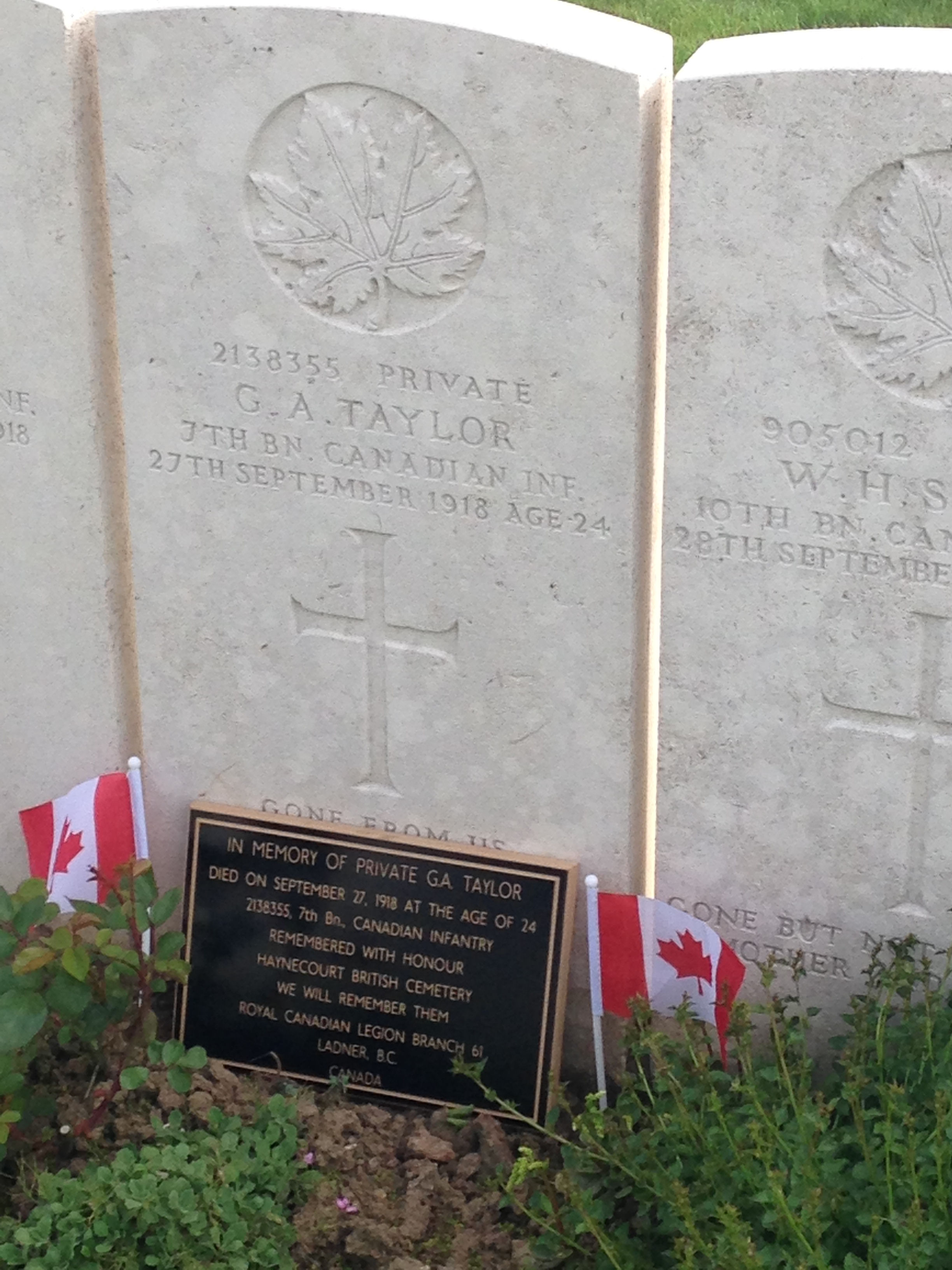 Grave Marker– Taken May 8/2015 in Haynecourte , France. A plaque included from the Ladner Legion, located in the town of which Guy Taylor was from, Ladner British Columbia , Canada
