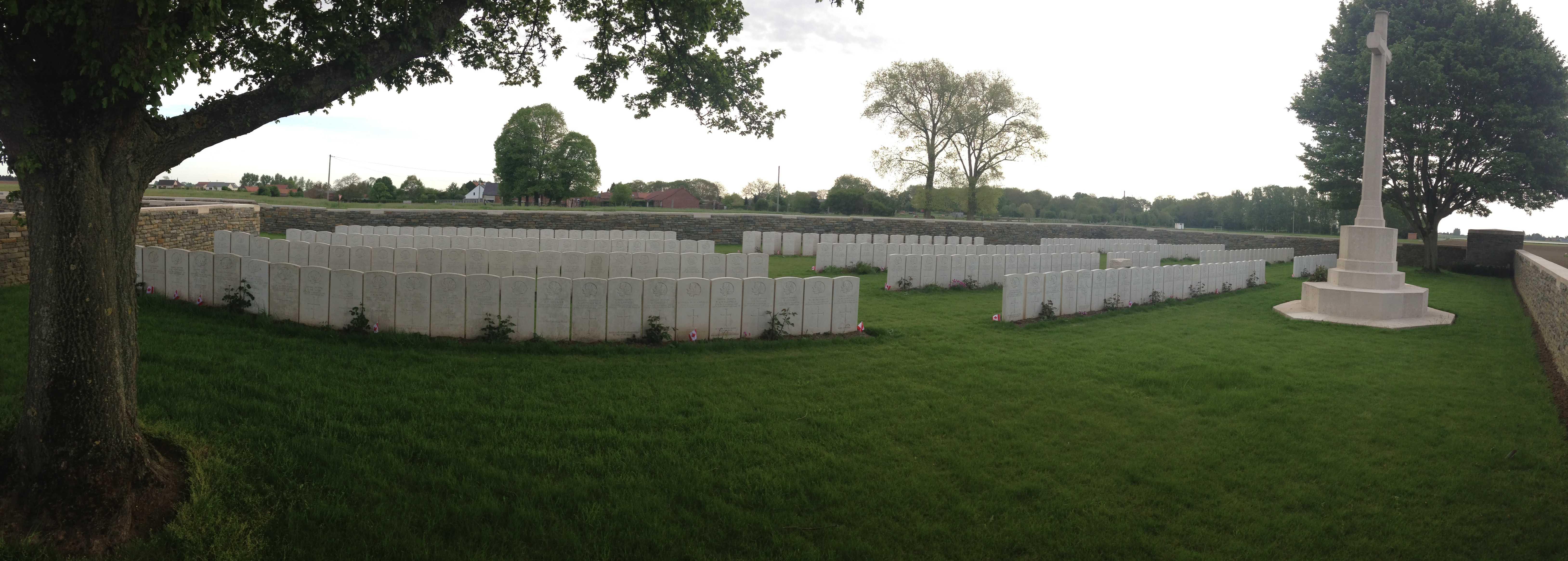Cemetery– Panoramic view of Haynecourte British Cemetery. May 8 /2015