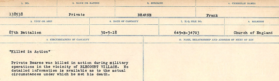 Circumstances of Death– Source: Library and Archives Canada.  CIRCUMSTANCES OF DEATH REGISTERS FIRST WORLD WAR Surnames:  Bea to Belisle. Mircoform Sequence 7; Volume Number 31829_B016717. Reference RG150, 1992-93/314, 151.  Page 119 of 724.