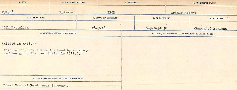 Circumstances of Death Registers– Source: Library and Archives Canada.  CIRCUMSTANCES OF DEATH REGISTERS FIRST WORLD WAR Surnames:  Bea to Belisle. Mircoform Sequence 7; Volume Number 31829_B016717. Reference RG150, 1992-93/314, 151.  Page 389 of 724.
