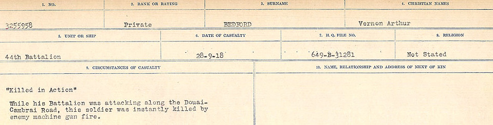 Circumstances of Death Registers– Source: Library and Archives Canada.  CIRCUMSTANCES OF DEATH REGISTERS FIRST WORLD WAR Surnames:  Bea to Belisle. Mircoform Sequence 7; Volume Number 31829_B016717. Reference RG150, 1992-93/314, 151.  Page 509 of 724.