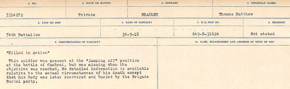 Circumstances of Death Registers– Source: Library and Archives Canada.  CIRCUMSTANCES OF DEATH REGISTERS FIRST WORLD WAR Surnames: Brabant to Britton. Mircoform Sequence 13; Volume Number 131829_B016722; Reference RG150, 1992-93/314, 156 Page 139 of 906.