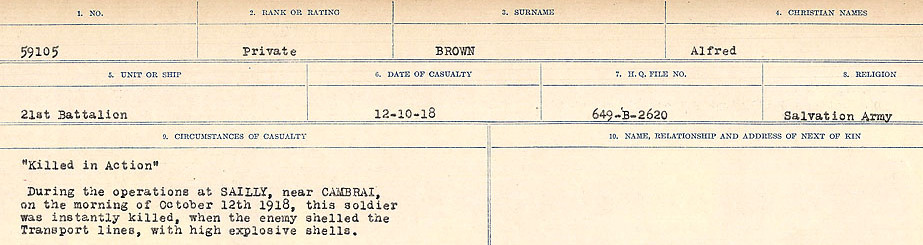 Circumstances of Death Registers– Source: Library and Archives Canada.  CIRCUMSTANCES OF DEATH REGISTERS FIRST WORLD WAR Surnames: Broad to Broyak. Mircoform Sequence 14; Volume Number 31829_B016723; Reference RG150, 1992-93/314, 158 Page 391 of 1128