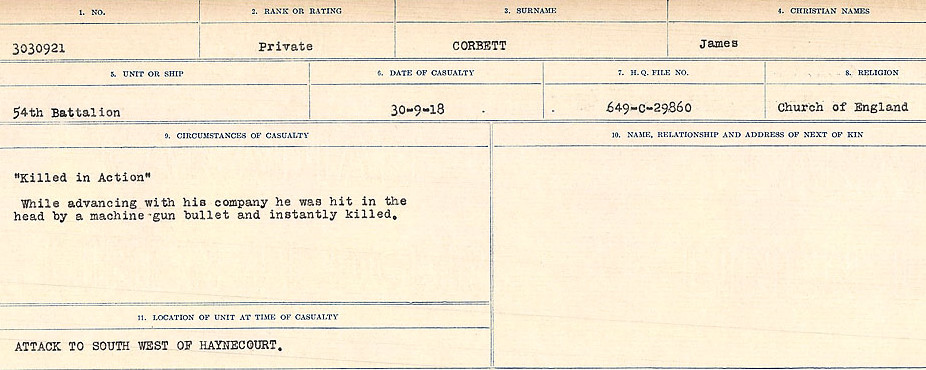 Circumstances of Death Registers– Source: Library and Archives Canada.  CIRCUMSTANCES OF DEATH REGISTERS, FIRST WORLD WAR Surnames:  CONNON TO CORBETT.  Microform Sequence 22; Volume Number 31829_B016731. Reference RG150, 1992-93/314, 166.  Page 783 of 818.