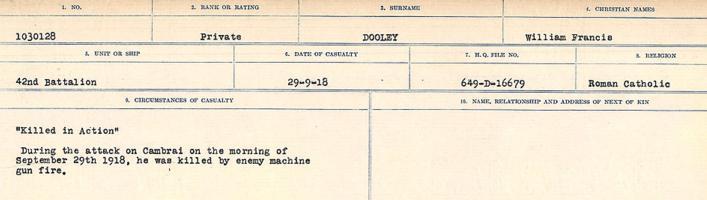 Circumstances of death registers– Source: Library and Archives Canada. CIRCUMSTANCES OF DEATH REGISTERS, FIRST WORLD WAR. Surnames: Don to Drzewiecki. Microform Sequence 29; Volume Number 31829_B016738. Reference RG150, 1992-93/314, 173. Page 227 of 1076.