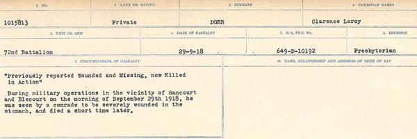 Circumstances of death registers– Source: Library and Archives Canada. CIRCUMSTANCES OF DEATH REGISTERS, FIRST WORLD WAR. Surnames: Don to Drzewiecki. Microform Sequence 29; Volume Number 31829_B016738. Reference RG150, 1992-93/314, 173. Page 303 of 1076.