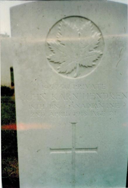 Grave Marker– Grave site of Private John Karn Hendren, visited in 1986 by his great-grandniece, Lisa (Dart) Russell.