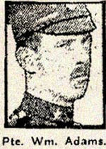 Newspaper Clipping– Pte. William Adams, born in Toronto, Ontario, enlisted in the 169th Battalion C.E.F. in February 1916.  In honoured memory.