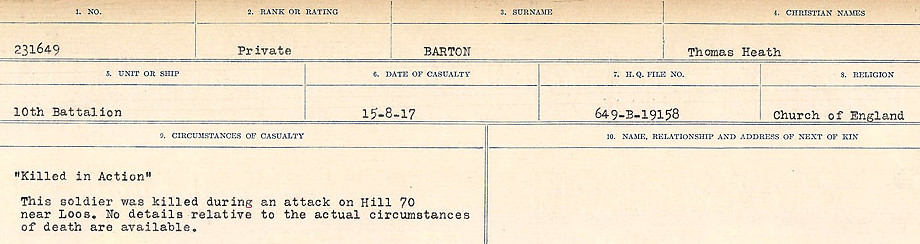 Circumstances of Death– Source: Library and Archives Canada.  CIRCUMSTANCES OF DEATH REGISTERS, FIRST WORLD WAR Surnames:  Bark to Bazinet. Mircoform Sequence 6; Volume Number 31829_B016716. Reference RG150, 1992-93/314, 150.  Page 675 of 1058.