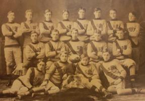 Team Photo– Thomas James top row far left, Saint John High School rugby team, c. 1910.