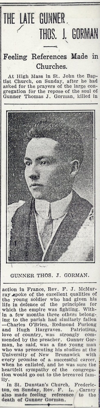 Newspaper Clipping– News of his death in Saint John paper