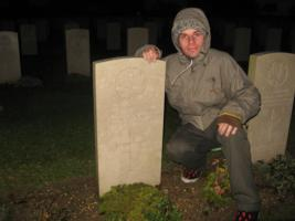 Paying respects– Thomas' cousin Colin O'Neil visiting Bapaume in 2014.