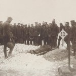 Burial of Major Edward Knight– Original photo, showing the burial of Major Knight of the Eatons Machine Gun Battery, at the Somme in Sept, 1916.  (Photo from donors collection).