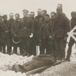 Detail from photo– Detail from photo showing the burial of Major Knight.