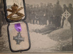 Newspaper Clipping– Original newspaper photo showing the burial of Major Knight with the GV Memorial Cross awarded to his mother after his death.