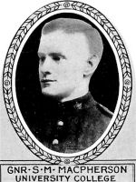 Photo of Stuart MacPherson– From: The Varsity Magazine Supplement Fourth Edition 1918 published by The Students Administrative Council, University of Toronto.   Submitted for the Soldiers' Tower Committee, University of Toronto, by Operation Picture Me.