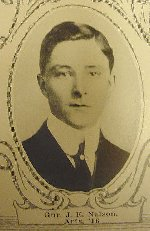 """Photo of John Nelson– University of Manitoba Roll of Honour 1914-1918.  Winnipeg, 1923. Roll of the Fallen (pg. 23) - """"NELSON, John Ernest:  Arts '16; Enlisted 17-11-14; Gnr. 13th Batty.; Service in France; Killed in Action 14-10-16."""" (These details were published in the University honour roll - there may be discrepancies in this information which was gathered from friends and relations)."""