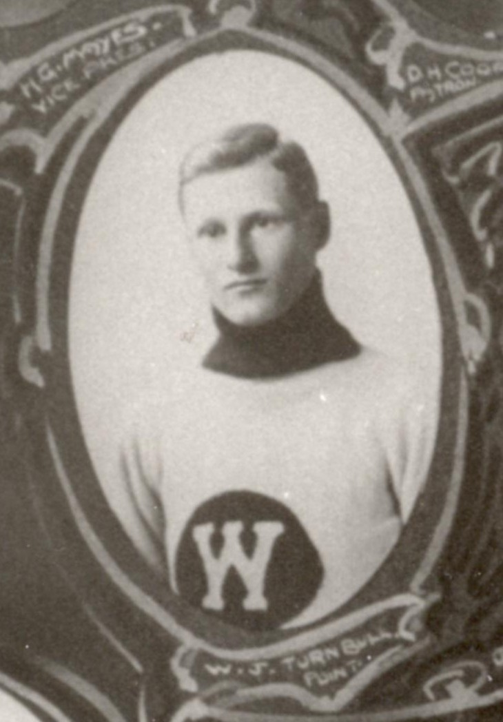 Photo of Walter James Turnbull– Winnipeg Hockey Club 1913 Amateur Champions, W. J. Ollie Turnbull, Point. Detail of team montage photo from the collection of the Manitoba Sports Hall of Fame & Museum. [Obtained via email from the Museum's Executive Director Rick Brownlee in October 2007.]