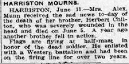 Newspaper clipping– From the London Free Press June 1917. Submitted for the project Operation Picture Me.