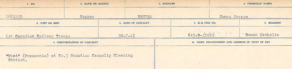 Circumstances of Death– Source: Library and Archives Canada.  CIRCUMSTANCES OF DEATH REGISTERS FIRST WORLD WAR Surnames:  Bell to Bernaquez.  Mircoform Sequence 8; Volume Number 31829_B016718; Reference RG150, 1992-93/314, 152 Page 345 of 670.