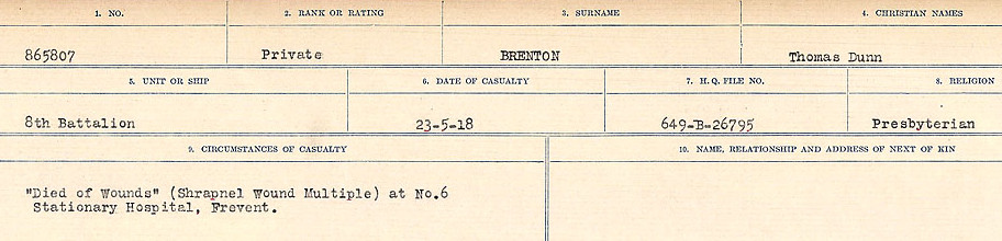 Circumstance of death– Source: Library and Archives Canada.  CIRCUMSTANCES OF DEATH REGISTERS FIRST WORLD WAR Surnames: Brabant to Britton. Mircoform Sequence 13; Volume Number 131829_B016722; Reference RG150, 1992-93/314, 157 Page 501 of 906