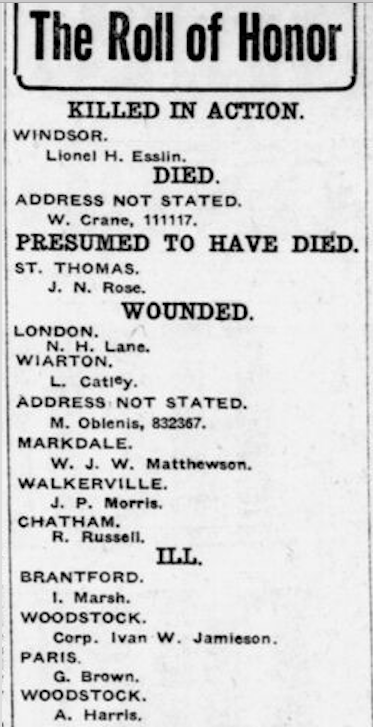 Newspaper clipping– From the London Free Press July 1918. Submitted for the project Operation Picture Me