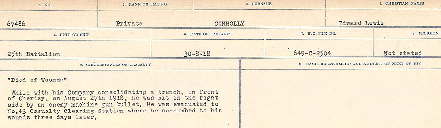 Circumstances of Death Registers– Source: Library and Archives Canada.  CIRCUMSTANCES OF DEATH REGISTERS, FIRST WORLD WAR Surnames:  CLEAL TO CONNOLLY.  Microform Sequence 21; Volume Number 31829_B016730. Reference RG150, 1992-93/314, 165.  Page 1351 of 1384.